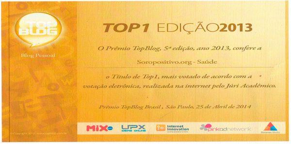 Diploma de consagração do blog Soropositivo.org como Blog Pessoal em 2013