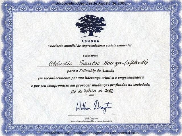 Diploma de afiliado à Fellowship Ashoka empreendedores sociais
