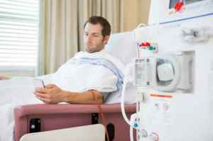 Patient Using Mobilephone at Dialysis Center