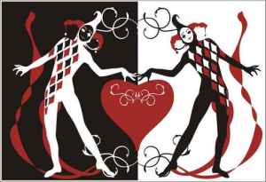 Greeting card with Harlequins carrying heart