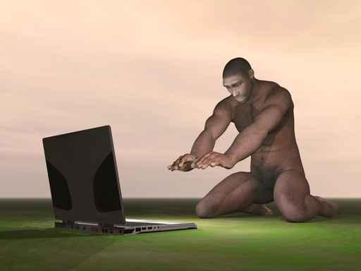 computer and erectus homo kneeling before him