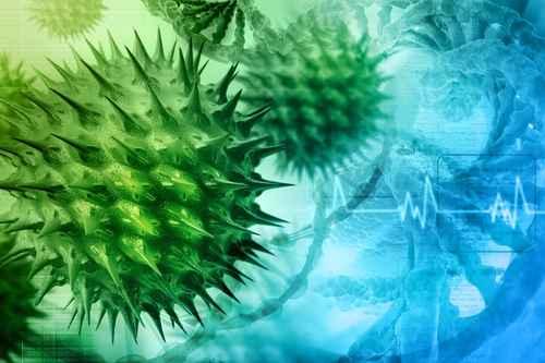 Ilustração digital do vírus HIV atacando uma célula do sistema nervoso