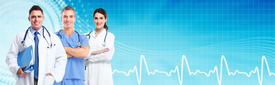 Group of medical doctors over blue hospital background. Health care