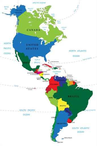 Mapa d'Amèrica del Nord i del Sud