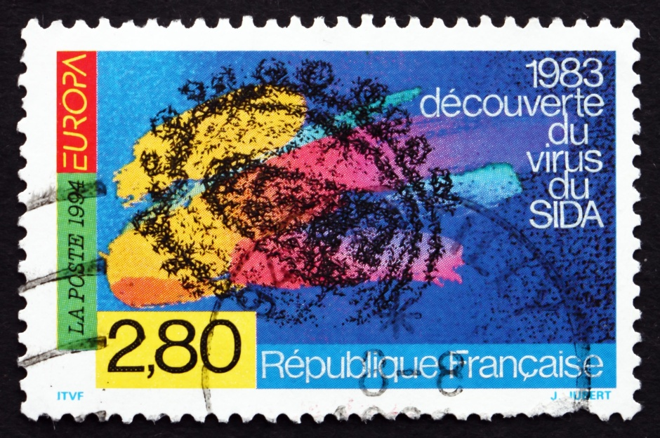 FRANCE - CIRCA 1994: a stamp printed in the France shows Discovery of AIDS Virus, by Scientists of Pasteur Institute, circa 1994