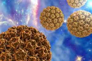 Human Papillomavirus type 16 on surrealistic background (HPV). A