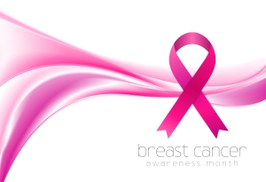 Breast cancer awareness month. Smooth wave and ribbon design