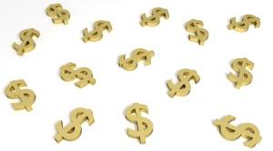 3D Dlares de ouro sob fundo branco