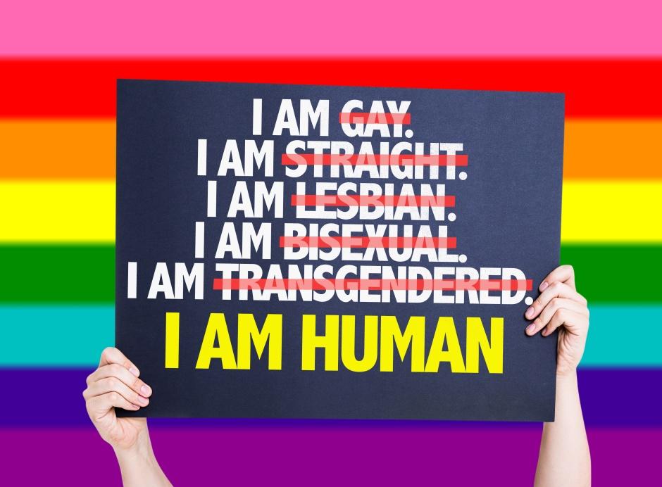 Eu sou gay, Eu sou hetero, eu sou lésbica, eu sou bisexual, eu sou transexual, eu sou Humana@