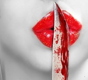 knife on lips.
